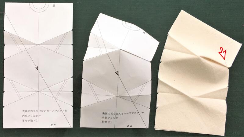 シンプルなカーブマスクのパーツ縫い1
