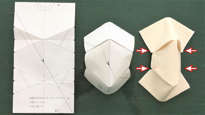 シンプルなカーブマスクのパーツ縫い2