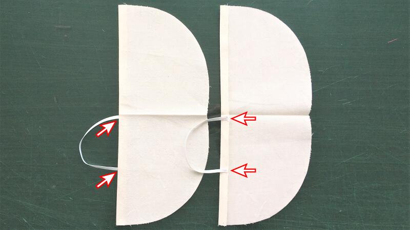 シンプルなカーブマスクのパーツ縫い4
