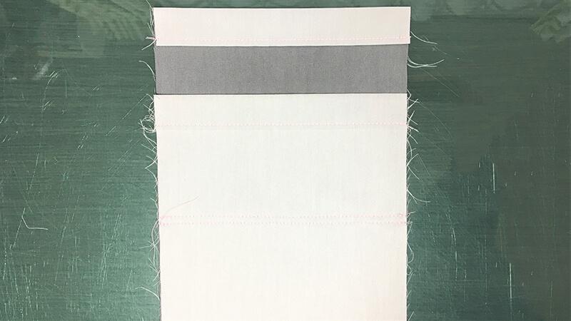 A3ショップバッグの内ポケット縫い付けの写真1