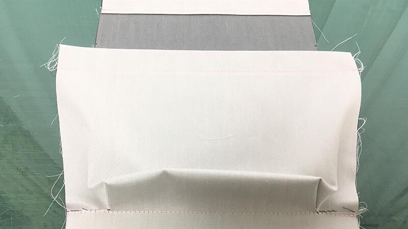 A3ショップバッグの内ポケット縫い付けの写真3