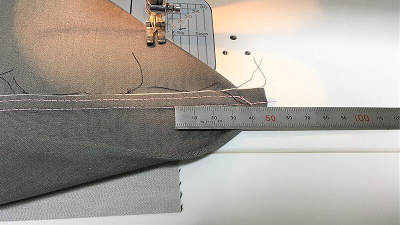 A3ショップバッグのバック・脇の底縫いの写真2