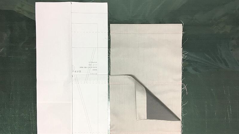 A3ショップバッグの外ポケット縫い付けの写真1