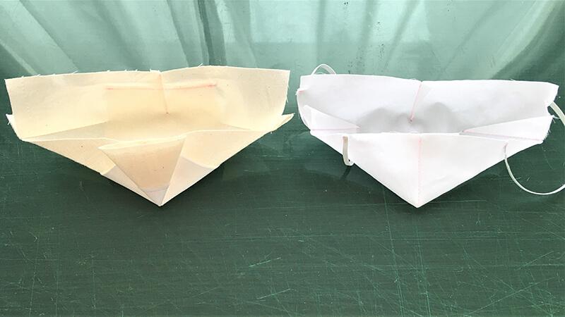 保冷マスクのダーツのアイロン処理2