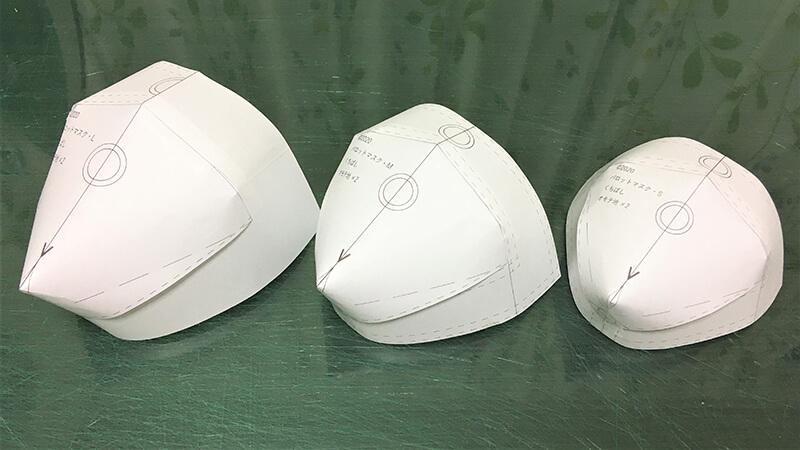 パロットマスクのサイズ確認用の組み上げ写真