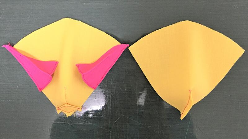 パロットマスクAのくちばしパーツの縫い合わせの写真5-1